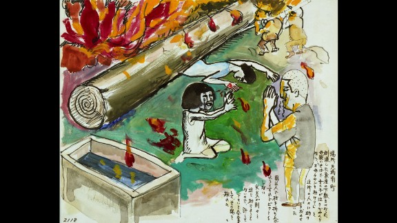 This drawing by survivor Akira Onogi shows a woman pinned under a pillar from her collapsed house as deadly flames approach. Next to the woman, a sobbing girl pleads for help from neighbors. The neighbors couldn