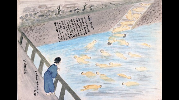 Sueko Sumimoto remembered a mother standing on a bridge. She was screaming her child