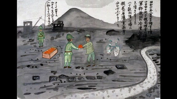 "Not all the drawings depict bad memories. Masaru Shimizu remembers being given a few dozen frozen mandarin oranges by the military. ""I gave some of them to relatives who were seriously injured by the atomic bomb,"" she said."