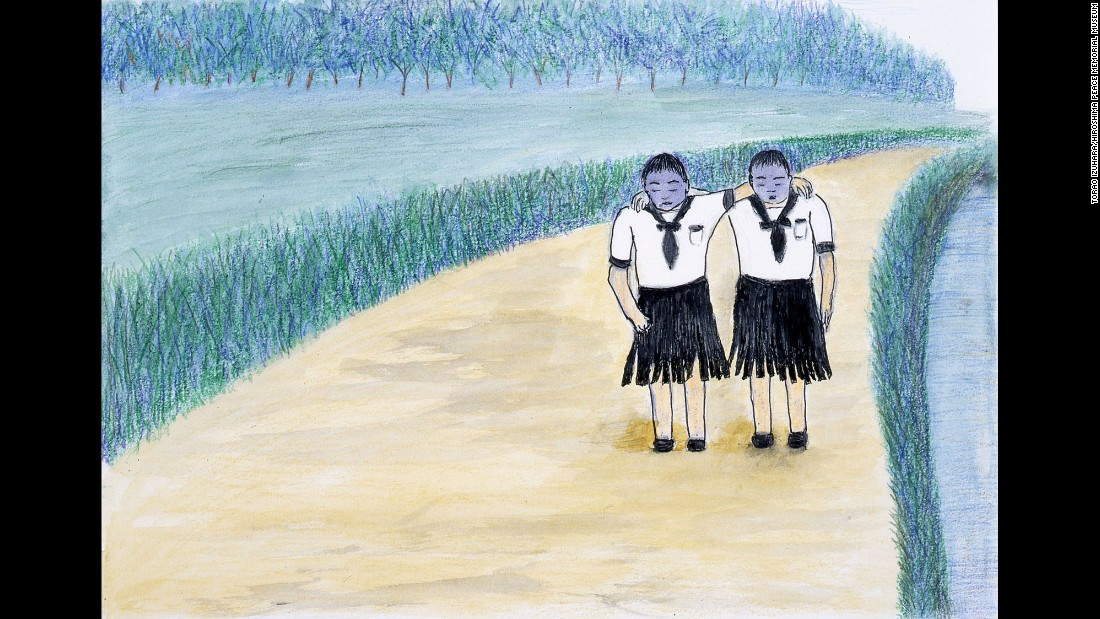 "The memory of seeing two girls with blue-violet faces shocked Torao Izuhara so much that she never forgot it. Their faces were ""swollen so badly that you couldn't tell whether their eyes were open or shut, and their skirts were ripped up right at the creases,"" Isuhara said. ""Their faces were really even blacker than the drawing. They helped each other walk along, their shoulders joined together, their powerless legs somehow carrying them off towards the Otagawa River."""