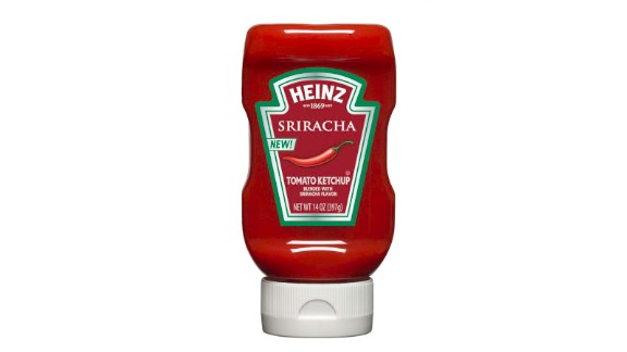 Heinz ketchup blended with spicy Sriracha flavor -- one of many strange new snack foods.