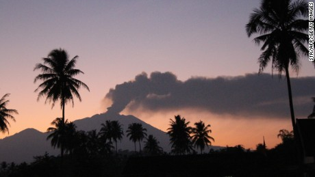 The 3,300-metre Mt Raung volcano emitted ash and steam on July 12, shutting down four airports.