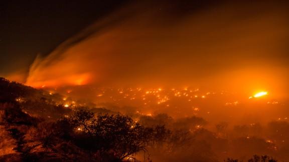 The North Fire burns July 17 near Interstate 15 in the Cajon Pass in San Bernardino County.