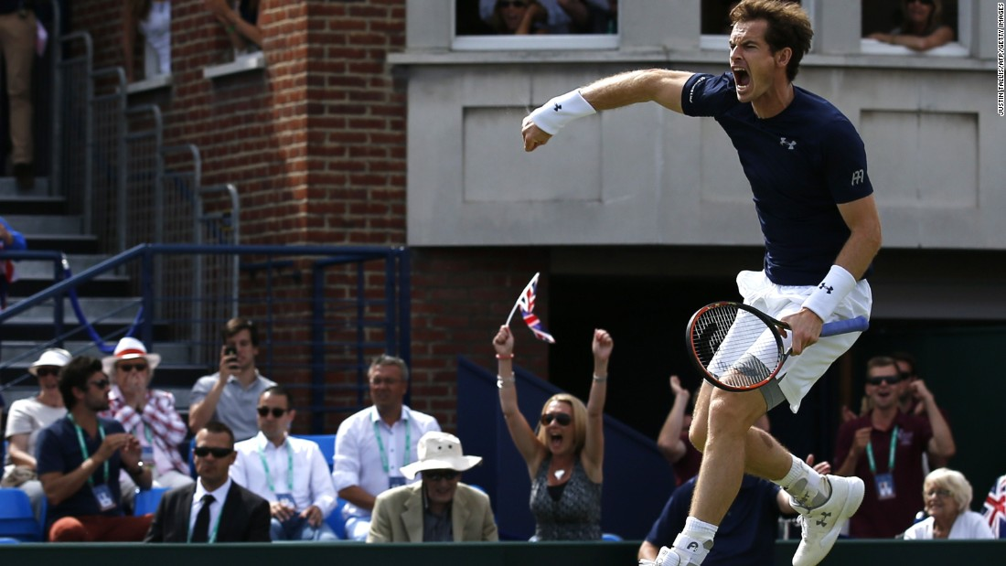 But he was jumping for joy after giving himself the chance to clinch the tie in Sunday's opening reverse singles rubber against Gilles Simon.