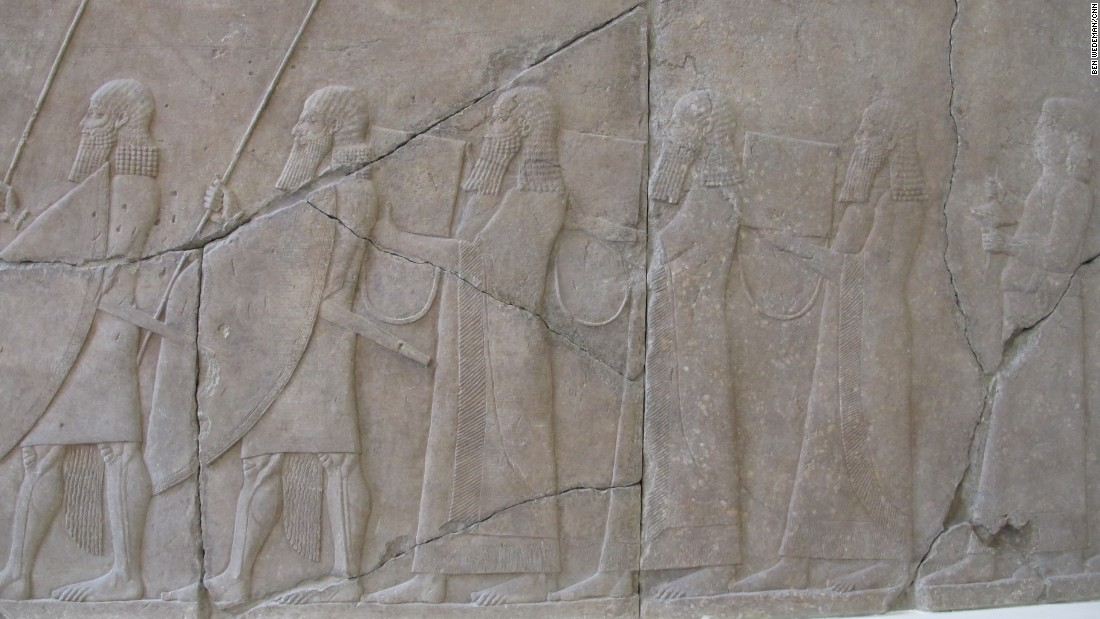 "Figures are depicted on a relief of the Assyrian royal guard from Nineveh in northern Iraq. Nineveh is in an area now under ISIS control. Berlin-based group <a href=""http://www.heritageforpeace.org/"" target=""_blank"">Heritage for Peace</a> is working to trace and document the looting and destruction of Syria's ancient heritage. The region has been threatened by the presence of ISIS and organized crime."