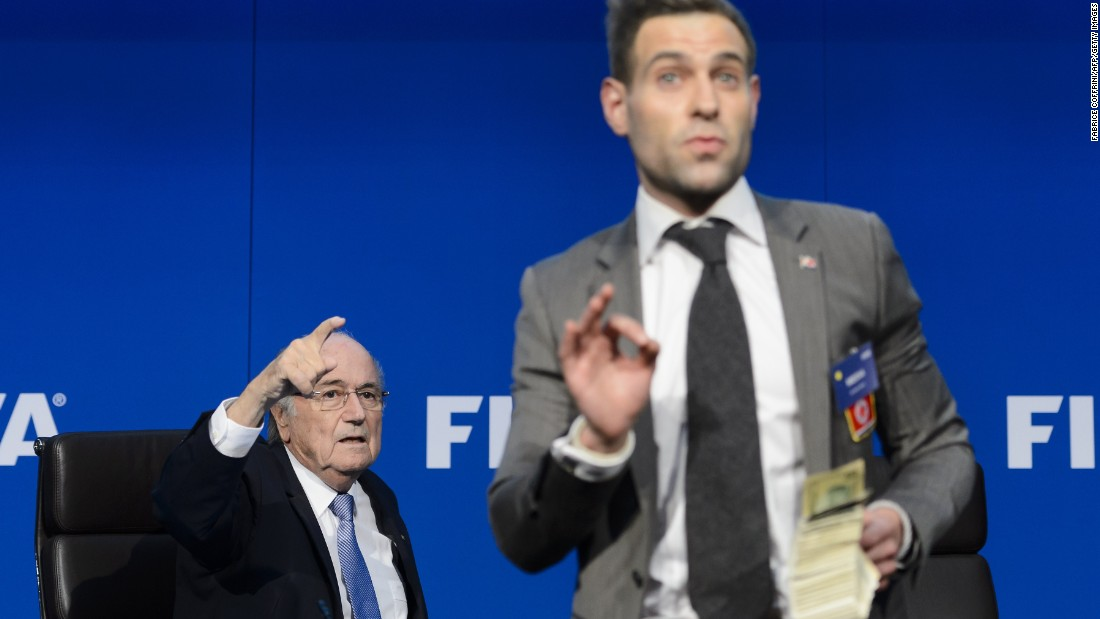 After announcing that a new president of world football's governing body will be elected on February 26, 2016, current incumbent Blatter took to the stage to answer questions. But Nelson had a very different agenda.