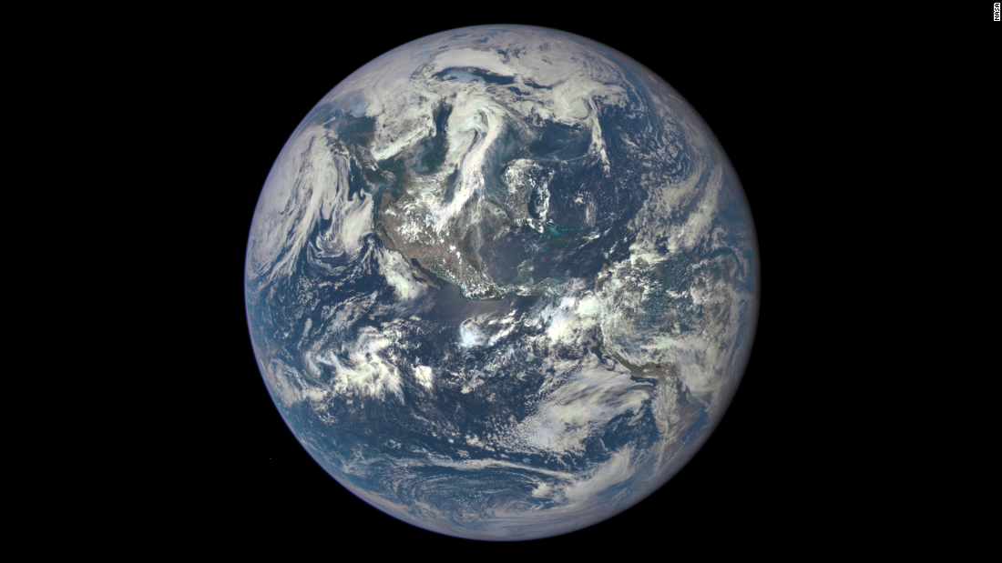 "This image of Earth was taken by NASA's Deep Space Climate Observatory satellite on July 6, 2015. The satellite was launched on February 11, 2015, and was 1 million miles (1.6 million kilometers) from Earth at the time of the photo. NASA says it marks the first time an image of the full, sunlit side of Earth has been captured since Apollo 17 astronauts' <a href=""http://earthobservatory.nasa.gov/Features/BlueMarble/"" target=""_blank"">iconic ""Blue Marble"" photograph</a> in 1972. Other images of the planet have been mosaics -- not a single view of Earth taken at one moment in time, the space agency said. Deep Space Climate Observatory's primary mission is to monitor solar wind to improve the ability to send alerts about solar storms and other space weather events."