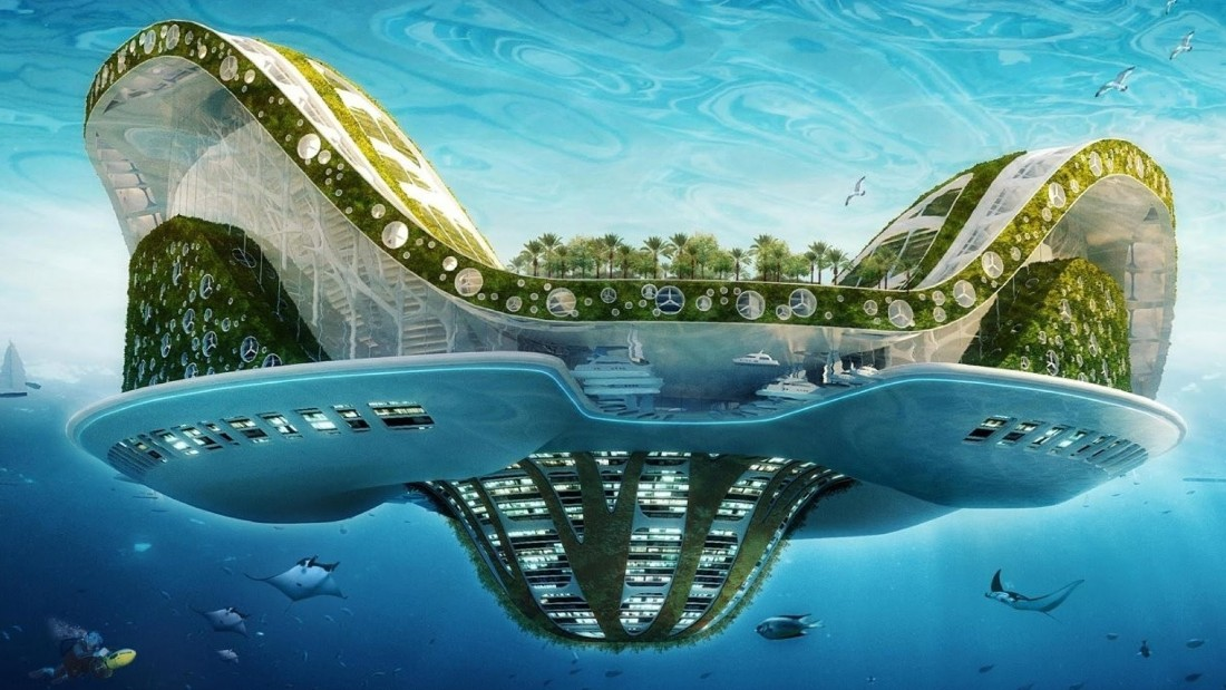 One popular idea for resilience in areas affected by rising waters is artificial islands, as with this concept from architect Vincent Callebaut.