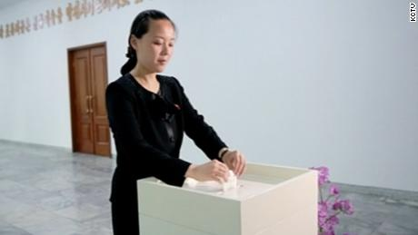 Kim Yo Jong, 28 year old sister of North Korea's Supreme Leader Kim Jong Un, votes. Her profile has been rising since 2014 and she is now believed to be head of North Korea's Propaganda and Agitation  Department, in charge of her brother's personality cult.