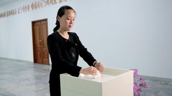 Kim Yo Jong, 28 year old sister of Supreme Leader Kim Jong Un, votes in North Korea's 2015 local elections.