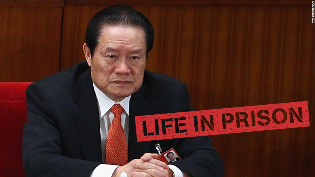 "A former member of China's all-powerful Politburo Standing Committee, <a href=""http://edition.cnn.com/2015/06/11/asia/china-zhou-yongkang-sentence/"">Zhou</a> <a href=""http://cnn.com/2015/06/11/asia/china-zhou-yongkang-sentence/"">Yongkang is now serving a life sentence </a>for corruption and other crimes. He was tried in secret in May 2015 and sentenced to life in prison in June. He's the highest ranking official to fall victim to Xi's graft crackdown."
