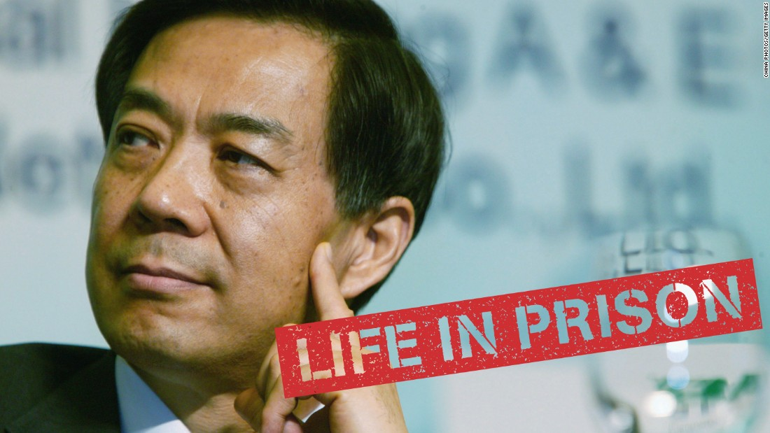 "Once a rising star of the Chinese Communist Party, <a href=""http://cnn.com/2013/09/21/world/asia/china-bo-xilai-verdict/"">Bo Xilai fell from power</a> in an explosive scandal involving murder, betrayal and financial skullduggery. Bo pleaded not guilty and challenged the prosecution's case in a rare public trial. He was jailed for taking bribes, embezzlement and abuse of power. His career unraveled after his wife, Gu Kailai, poisoned a British businessman, and his right-hand man, Wang Lijun, fled to the U.S. consulate in Chengdu."