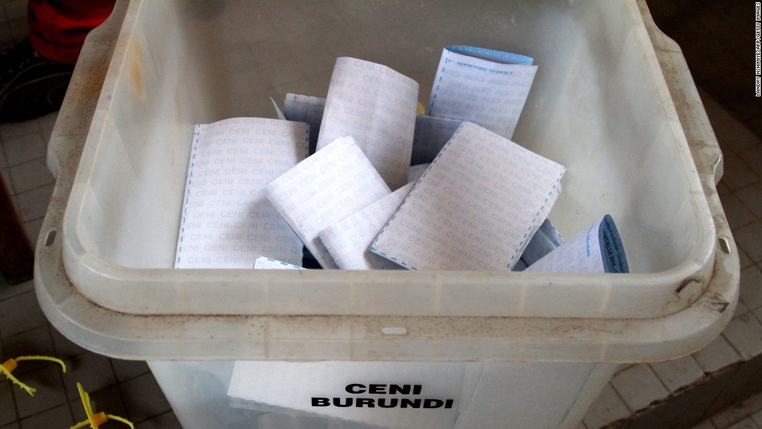 Ballots lie in a box at a polling station at the University of Burundi in Bujumbura on July 21.