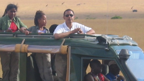 On the lookout for wild game, Obama and his family set off across the Maasai Mara. A lion kill was the day's highlight.