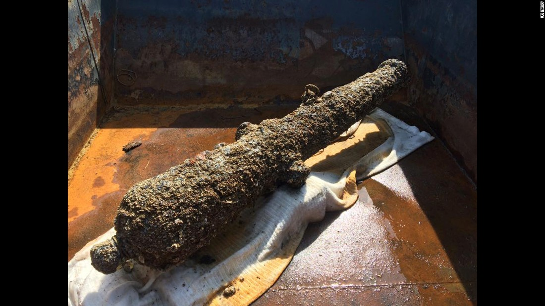 "This small cannon, known as a ""six pounder,"" was probably placed at the top of the deck of the CSS Georgia. It would have been used to fire on small row boats sent into Savannah by Federal commanders. It never got a chance to fire on the enemy. Click through to see more fascinating items that have been retrieved."