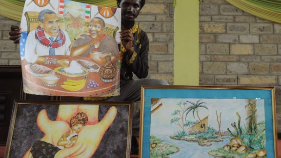 Kenyan artist Dayan Masinde shows several of his artworks including one depicting Obama next to Kenyan President Uhuru Kenyatta, sharing a Kenyan dish.