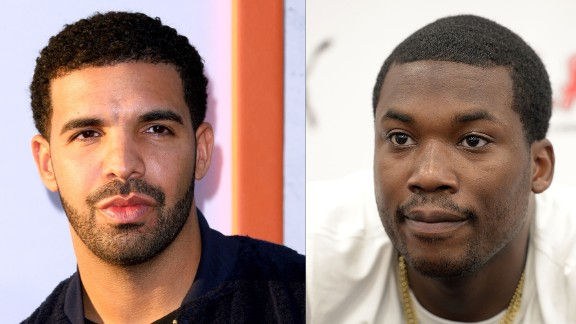 Rapper Meek Mill, right, started a Twitter spat in 2015, claiming that Drake doesn't write his own raps.