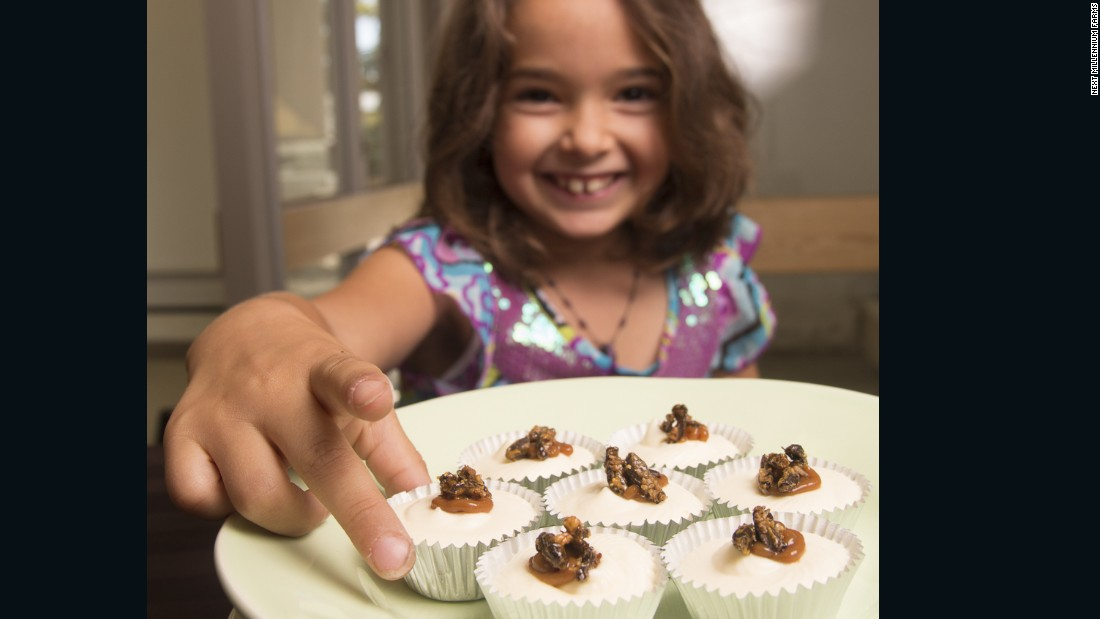 "NMF also works with ""ento-chefs"" to produce attractive dishes, such as these caramel coated cricket cheesecakes."