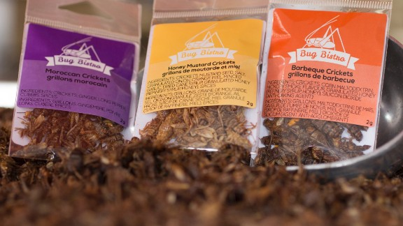These packs of edible dried bugs are sold in the US by Bug Bistro. Their flavors range from honey mustard to sea salt and pepper to Moroccan spice.