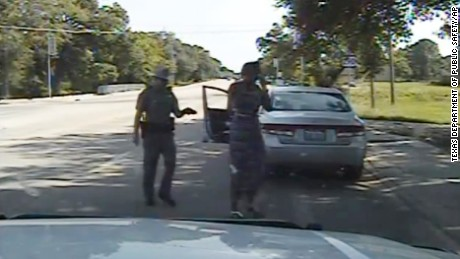 In this July 10, 2015, frame from dashcam video provided by the Texas Department of Public Safety, trooper Brian Encinia arrests Sandra Bland after she became combative during a routine traffic stop in Waller County, Texas.