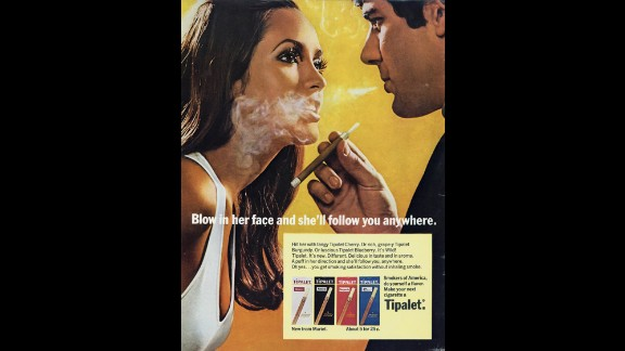 This ad for Tipalet cigarettes was first issued in 1969 but continued to run in the 1970s. Sex was often used to sell cigarettes throughout the decade.