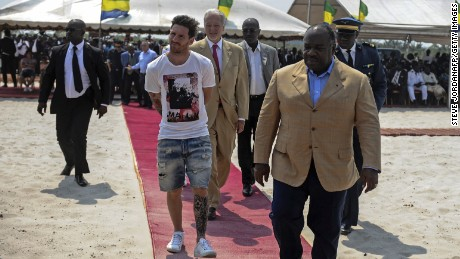 Lionel Messi was accused of dressing for the zoo rather than for meeting the country's president Ali Bongo Ondimba.