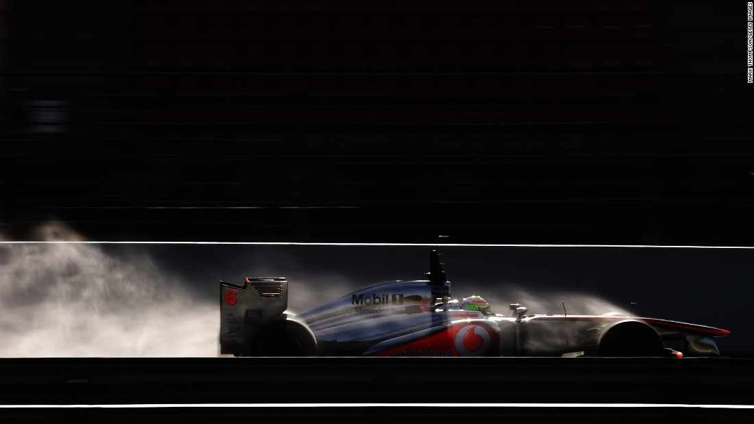 Photography is a mastery of light and shade -- and in F1's case extreme movement. Thompson has chosen his favorite F1 photos for CNN including this one of Sergio Perez testing for McLaren in 2013.