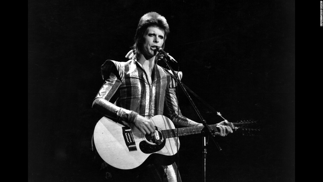 "David Bowie -- aka ""Ziggy Stardust,"" aka the ""Thin White Duke"" -- is one of the most iconic pop figures of the '70s. His shape-shifting persona was emblematic of the fluidity of his sound and style, ranging from the far-out ""Moonage Daydream"" to more traditional songs like ""Heroes"" and ""Changes."" Learn more about the music of the 1970s in the CNN original series, ""<a href=""/shows/the-seventies"" target=""_blank"">The Seventies</a>."""
