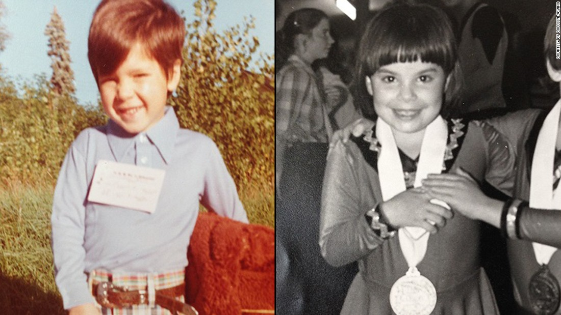 "Blaise (left, who prefers to go by his last name) is pictured here on his first day of kindergarten, ""Six Million Dollar Man"" lunch box and sleeping rug in hand. On the right is Colleen, at age 6, and her skating partner, Aaron, after winning a silver medal in the roller skating pairs competition. She didn't let Spina Bifida keep her from being active."
