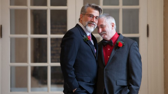 After a journey toward marriage equality, couples across the nation are now able to make their love and commitment legal and have just begun to celebrate. For many, the road that led to the Supreme Court ruling was long and hard fought, which makes the celebration even sweeter. Ray Fallon, left, and Steven Rosen, right, embrace on their wedding day at Plymouth Church, New York, where they had a small ceremony in the presence of family and friends. Their wedding was photograped by Rosen