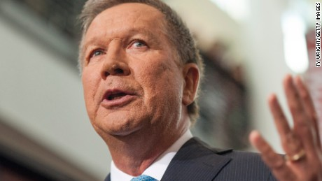 Ohio Governor John Kasich gives his speech announcing his 2016 Presidential candidacy at the Ohio Student Union, at The Ohio State University on July 21, 2015 in Columbus, Ohio.