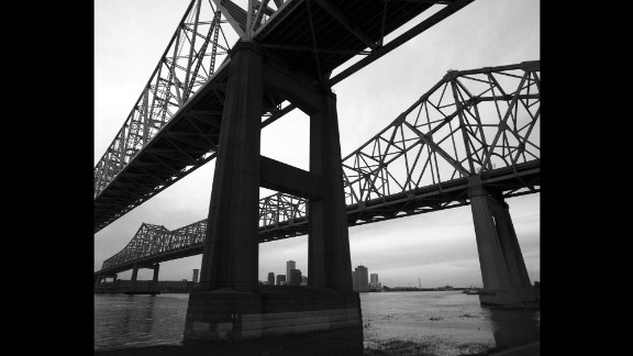 The Crescent City Connection bridges connect New Orleans with the west bank of the Mississippi River. Following Katrina, the bridges were closed as thousands tried to flee, a move that caused much outrage.