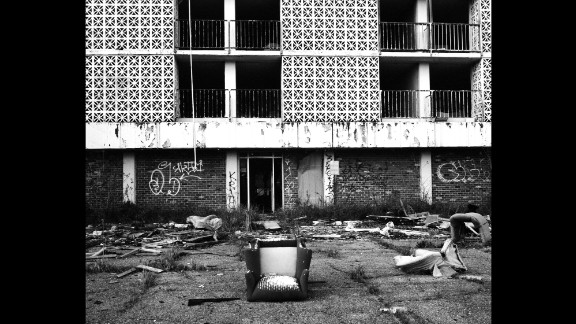 After the storm, the hotel was leased to FEMA to house displaced residents. They stayed for eight months before it became uninhabitable, looted and vandalized.