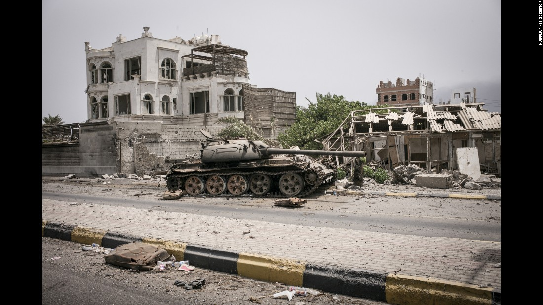 A tank in the city's Khormaksar district, which was a popular tourist area.