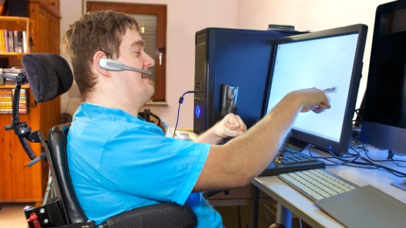 The growth of e-commerce has pushed many jobs into the Internet, but some people with disabilities can