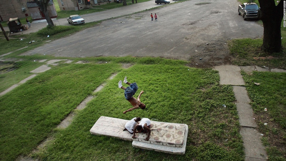 Residents of the B.W. Cooper housing project play on mattresses on June 10, 2007. Before Hurricane Katrina, B.W. Cooper held about 1,000 families and was the city's largest housing project.