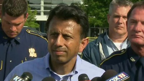 Louisiana Gov. Bobby Jindal speaks during a press conference alongside law enforcement after the Lafayette shooting.
