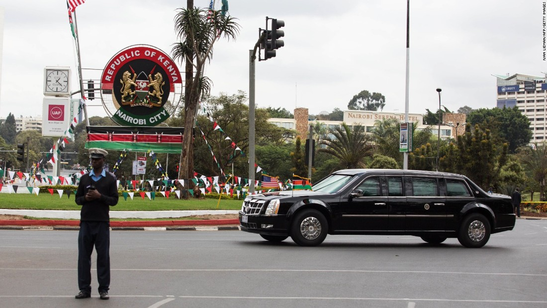 A security guard blocks a Nairobi street as Obama's motorcade passes on July 25.