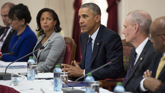 Obama speaks during a meeting with Kenyatta (not pictured) at the State House in Nairobi on July 25.