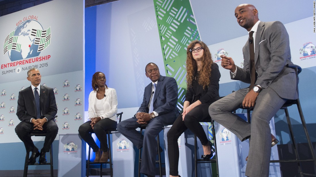 Obama and Kenyatta attend a panel discussion at the Global Entrepreneurship Summit. From left are Obama; Judith Owegar, co-founder of Akirachix; Kenyatta; Josipa Majic, CEO of Teddy the Guardian; and Jahiel Oliver, CEO of Hello Tractor.