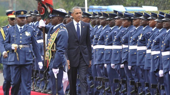 Obama inspects a guard of honor at the State House in Nairobi on July 25.