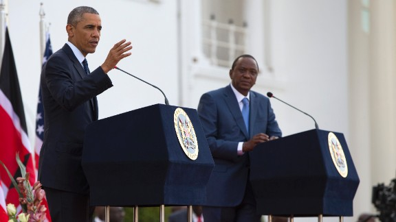 Obama speaks during a news conference with Kenyatta on July 25.