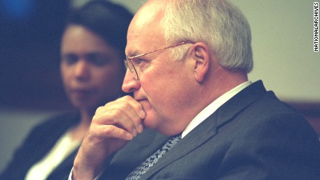 Then-Vice President Dick Cheney with National Security Advisor Condoleezza Rice in the President's Emergency Operations Center (PEOC) after the Sept. 11, 2001 terrorist attacks..