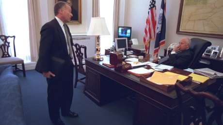 "Then-Vice President Cheney Talks with Chief of Staff I. Lewis ""Scooter"" Libby after the Sept. 11, 2001 terrorist attacks."
