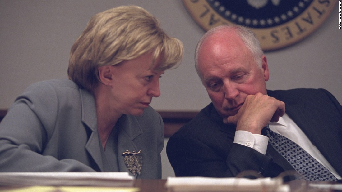 Lynne Cheney discusses the ongoing crisis with her husband, the vice president. According to a 2002 CNN article on the attack anniversary, Dick Cheney helped direct the U.S. government's response from an emergency bunker while the President was in Florida and flying to Nebraska for security reasons. Bush issued orders while in transit.<br />