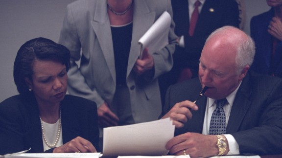 Cheney with National Security Adviser Condoleezza Rice in the President's Emergency Operations Center.