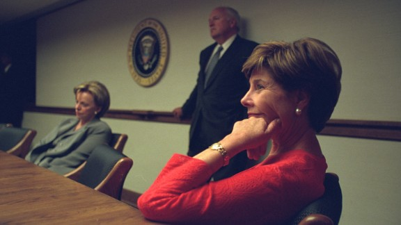 """After their reunion, the President and the first lady """"talked with the Cheneys a bit,"""" Laura Bush was to recall. President Bush then went upstairs to prepare for a nationally televised address."""