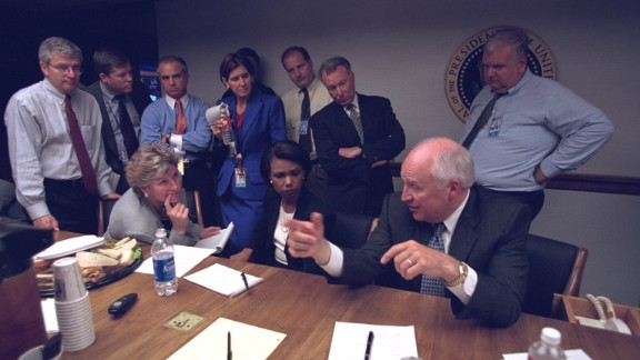 """It was the bunker's first test in an actual emergency, a day of crisis with some hitches. Cheney wanted to track TV reports of the devastation and listen in on communications with the Pentagon. """"You can have sound on one or the other and he found that technically imperfect,"""" Matalin recalled."""