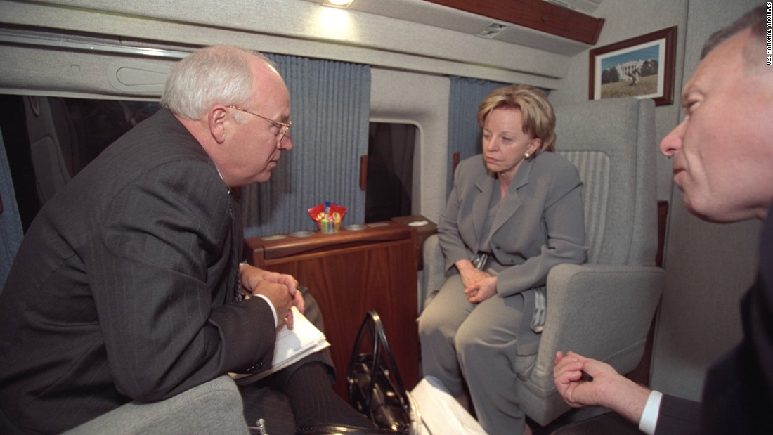 "Vice President Cheney, Lynne Cheney and I. Lewis ""Scooter"" Libby aboard Marine Two."