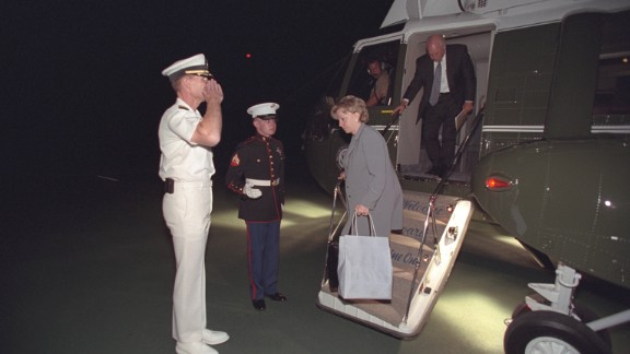 """Cheney and Lynne Cheney arrive at Camp David. This was the first in a series of """"undisclosed locations"""" where the vice president camped out in the weeks after the attacks, PBS said."""